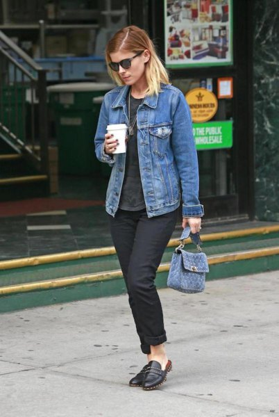 blue denim jacket with black jeans with cuffs