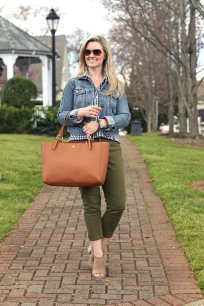 blue denim jacket with checked blouse and shortened green trousers