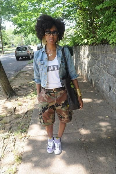 blue denim jacket with knee-length camo shorts with cuffs