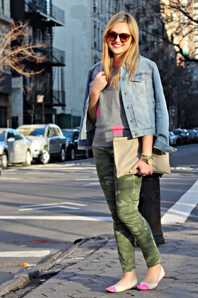 blue denim jacket with gray sweater with round neckline and pink flats