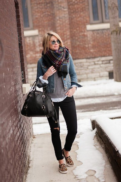 blue denim jacket with checked scarf and canvas slip-on shoes with leopard print