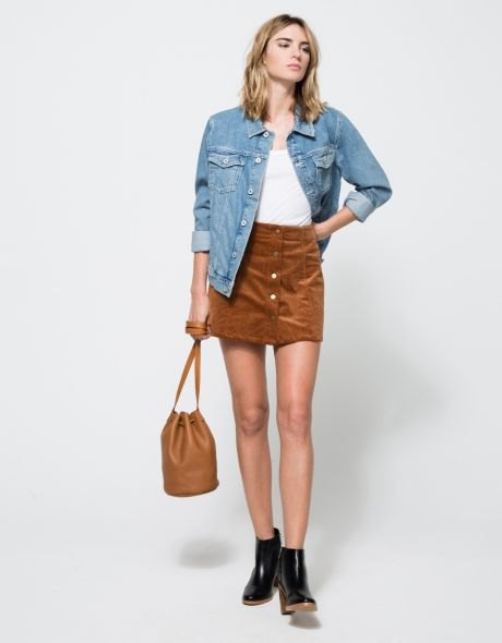 blue denim jacket with suede mini skirt and black ankle boots