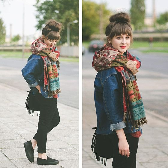 blue denim jacket with tribal print scarf and black canvas slip-on shoes
