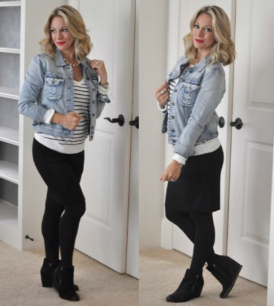 blue denim jacket with white and black striped sweater and wedge boots
