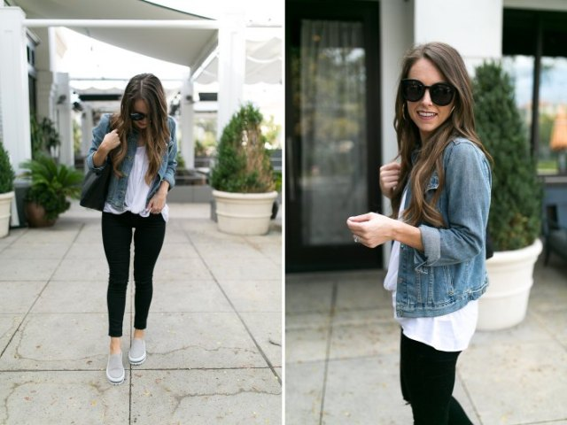 blue denim jacket with white blouse and black skinny jeans