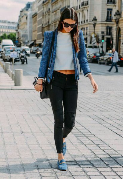 blue denim jacket with white short t-shirt and gray suede shoes