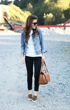 blue denim jacket with white graphic t-shirt and short jeans