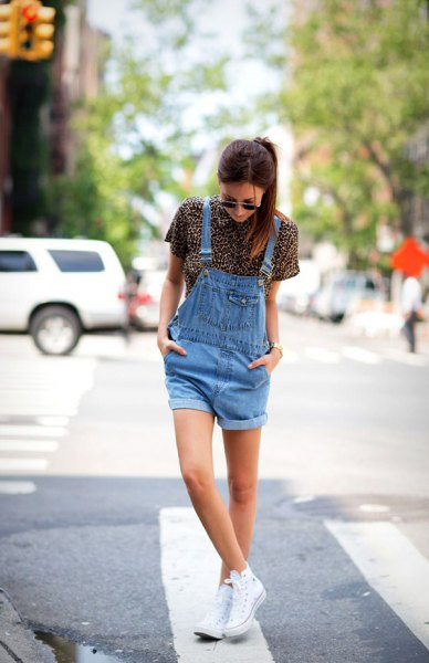 Blue denim overall shorts short sleeve shirt with leopard print