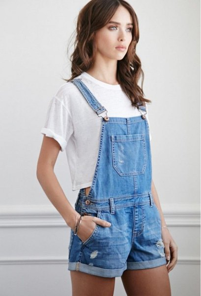 blue jeans overall shorts white short t-shirt