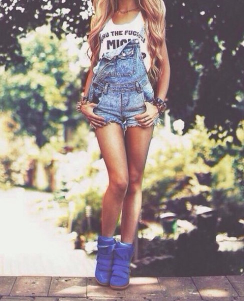 blue denim shorts with royal blue leather boots