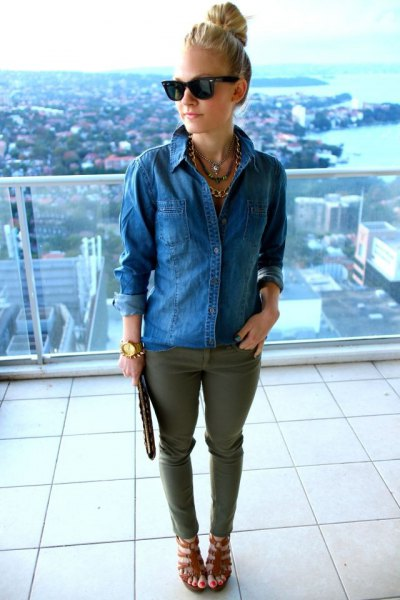 blue denim shirt with green jeans