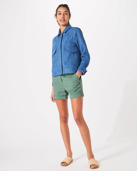 blue denim shirt with gray chino shorts