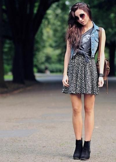 blue denim vest with gray printed T-shirt and dotted skirt
