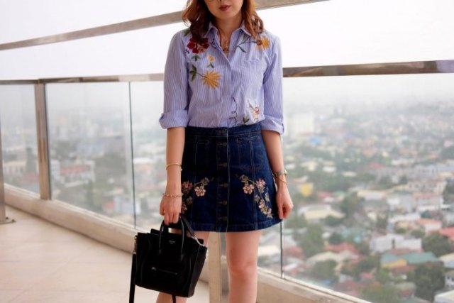 blue embroidered shirt with buttons