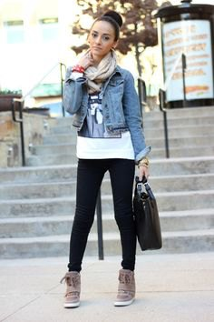 blue denim jacket with white printed t-shirt and gray wedge sneakers