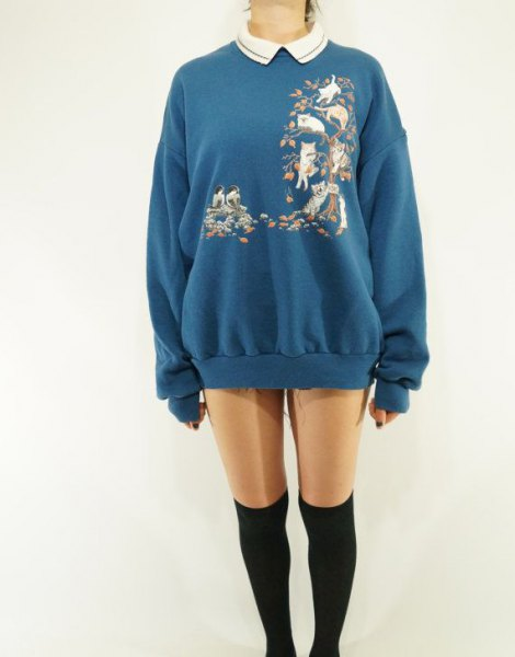 blue sweatshirt dress with floral pattern and collar