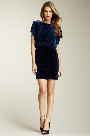 blue fluttering sleeve dress with gathered waist