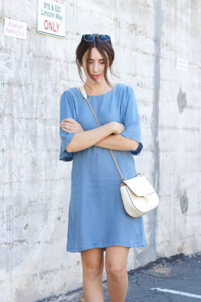 blue chambray shift mini dress with half sleeves