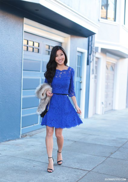 blue mini skater dress with ruched waist and ruched waist