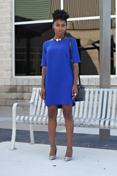 blue t-shirt dress with half sleeves and silver heels
