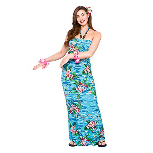 blue neckholder maxi dress in tube style in Hawaiian style