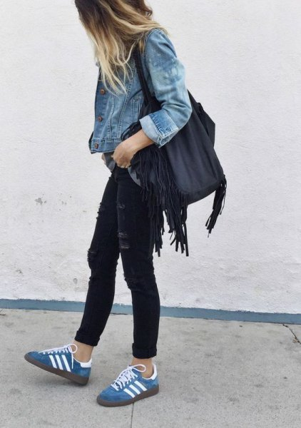 blue jacket with black skinny jeans with casual jeans casual shoes