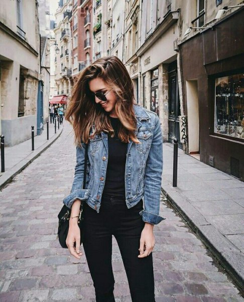 blue jacket with black t-shirt and high-waisted skinny jeans