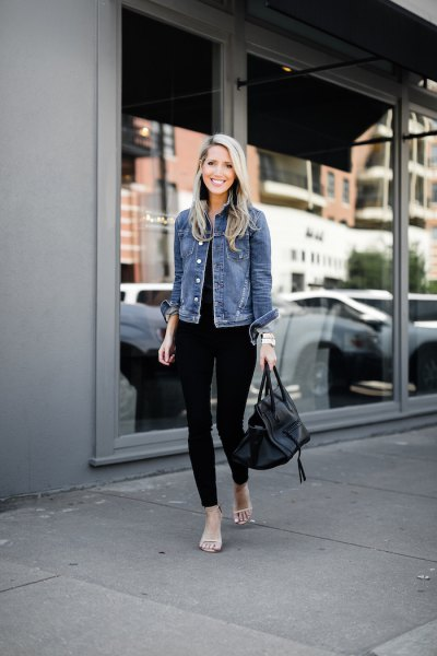 blue jacket with black top and matching skinny jeans