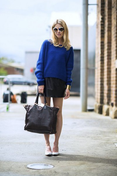blue knitted sweater black leather mini skirt