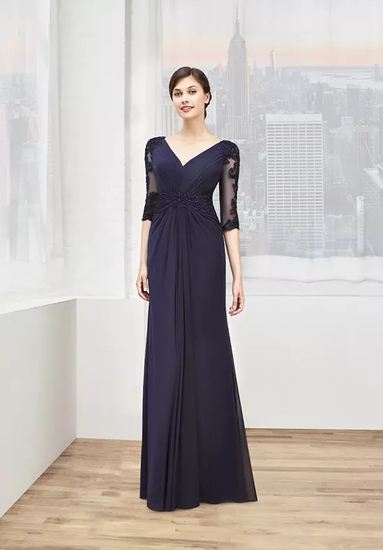 mother of the bride blue long dress
