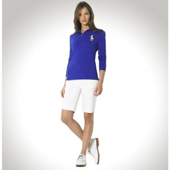 blue long-sleeved polo shirt with slim fit