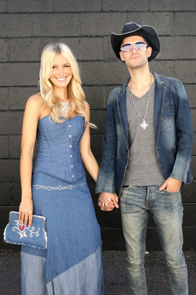 blue maxi chambray dress with jeans clutch handbag