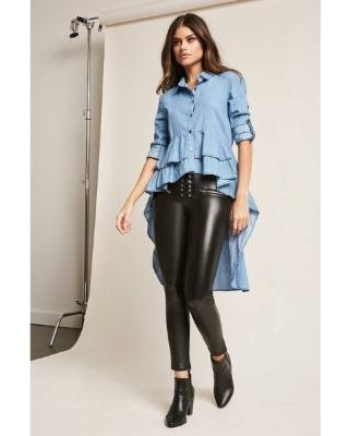 blue multilayer peplum high low shirt leather leggings