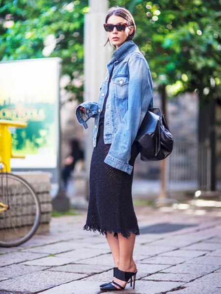 blue oversized denim jacket with black midi shift dress