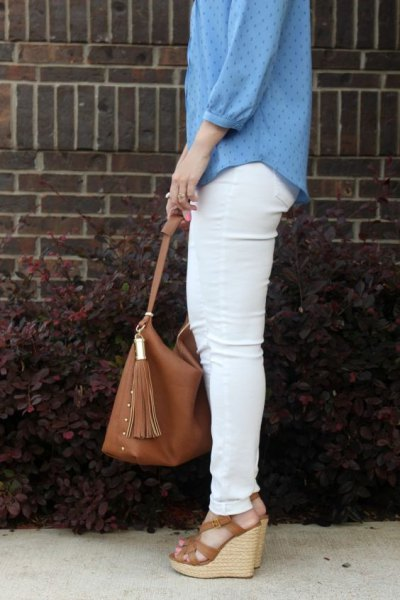 blue patterned chiffon blouse with white skinny jeans