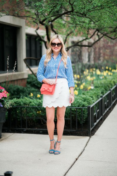 white wrap skirt with blue checked shirt