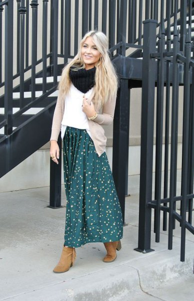 blue dotted maxi skirt white sweater