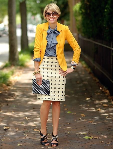 blue ribbon bow shirt and dotted mini skirt