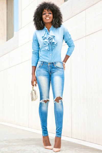 slim cut shirt with blue ruffles and ripped skinny jeans