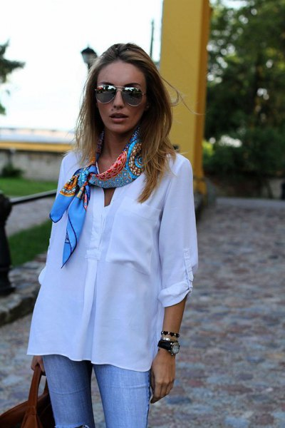 blue satin scarf white shirt with buttons