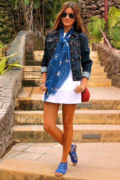 blue scarf with denim jacket and white mini dress