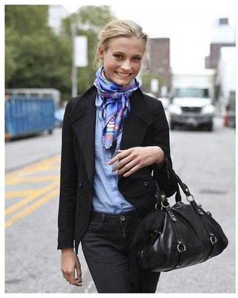 blue shirt black wool blazer bow scarf