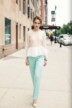 blue straight leg pants with pink and white peplum