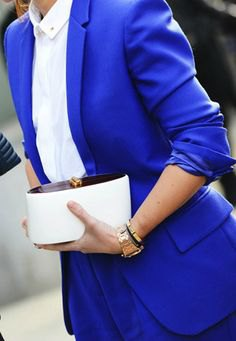 blue suit with white, slim-fitting shirt