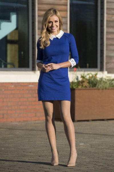 blue three-quarter-sleeved sheath dress with white collar and cuffs