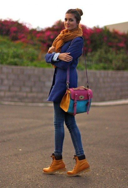 blue trench coat green scarf woodland