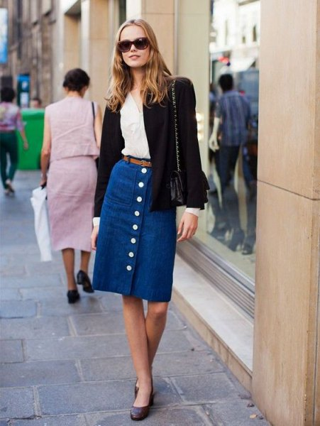 blue unwashed denim skirt with midi button in front and black wool blazer