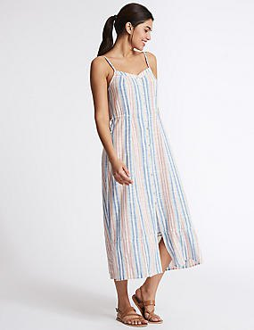blue white and pink vertical striped midi dress with sandals