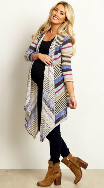 blue white and red pointed long maternity cardigan with black vest