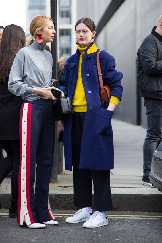 yellow blue outfit blue coat